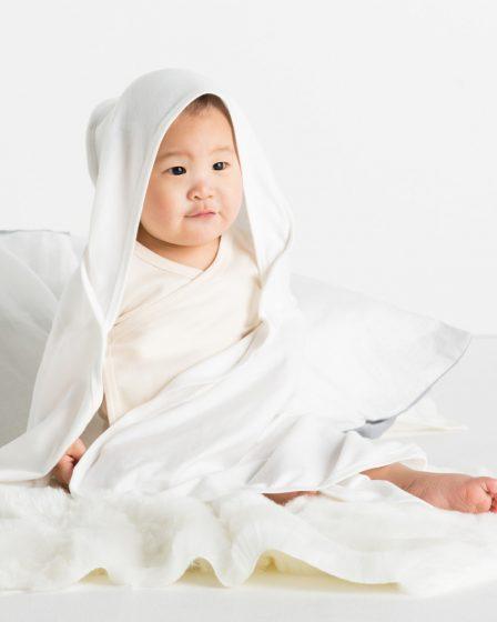 White Babybugz Baby Organic Hooded Blanket